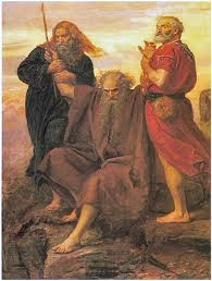John Everett Millais,  Aaron i Chur podtrzymuja ręce Mojżesza w czasie walki z Amalekitami